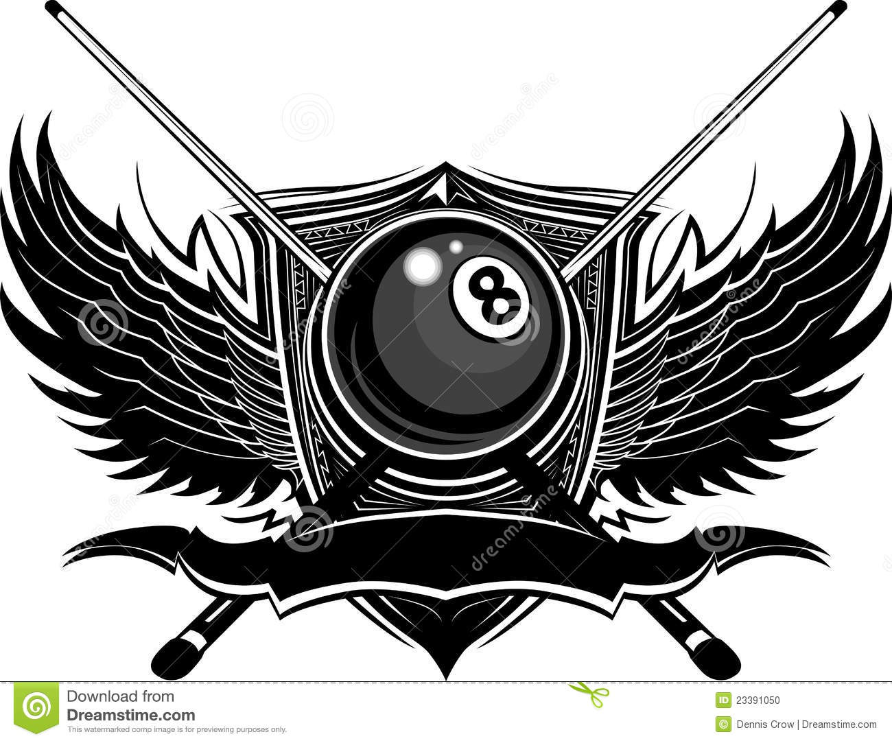 Billiards Eight Ball with Ornate Wings S-Billiards Eight Ball with Ornate Wings Stock Photo-18