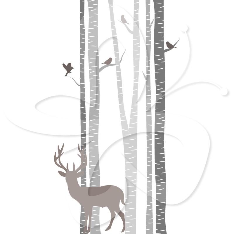 Birch Tree Clip Art Amongst The Birch Trees