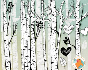 Birch Tree Clip Art, Winter Forest, Tree Branch ClipArt Outlines, Branch Silhouettes   Photoshop Brush, Natural Woodland Tree Images