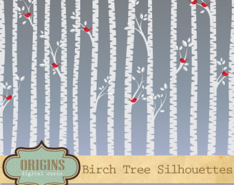Birch Tree Silhouettes Clipart, Birch Tree Clipart, Tree clip art, Little Red Birds - PNG and Vector Clipart Set Commercial Use