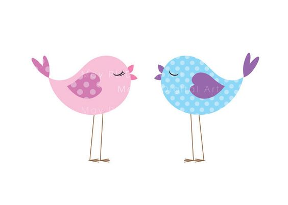 Bird Clip Art Animal Clipart Digital Cute Love Pastel Pink Baby Bird Commercial Personal Use Scrapbook