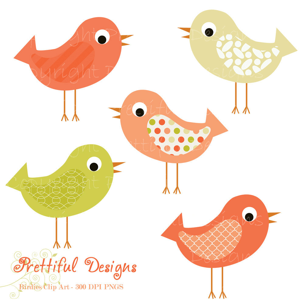 Bird Clip Art Pink And Green Pattern Bir-Bird Clip Art Pink And Green Pattern Bird By Prettifuldesigns-18