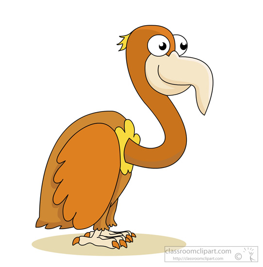 Bird Clipart : Cartoon-style-brown-vultu-Bird Clipart : cartoon-style-brown-vulture-with-big-eyes-0