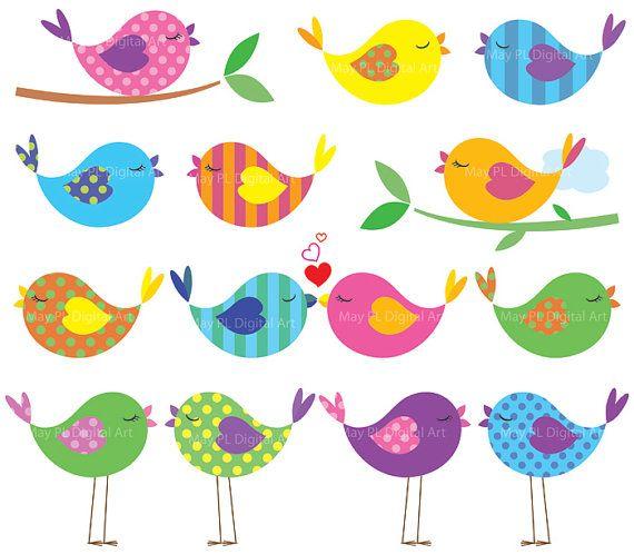 Bird Clipart Cute Birds Commercial Use Digital Animal Clipart Colorful Baby Love Bird Scrapbooking Elements Teacher