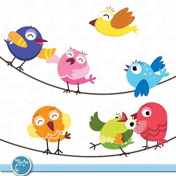 Birds Clip Art Cute Baby Birds Birds Design Element Perfect For