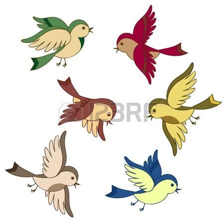 birds in flight: vector set of flying bi-birds in flight: vector set of flying bird cartoon isolated Illustration-14