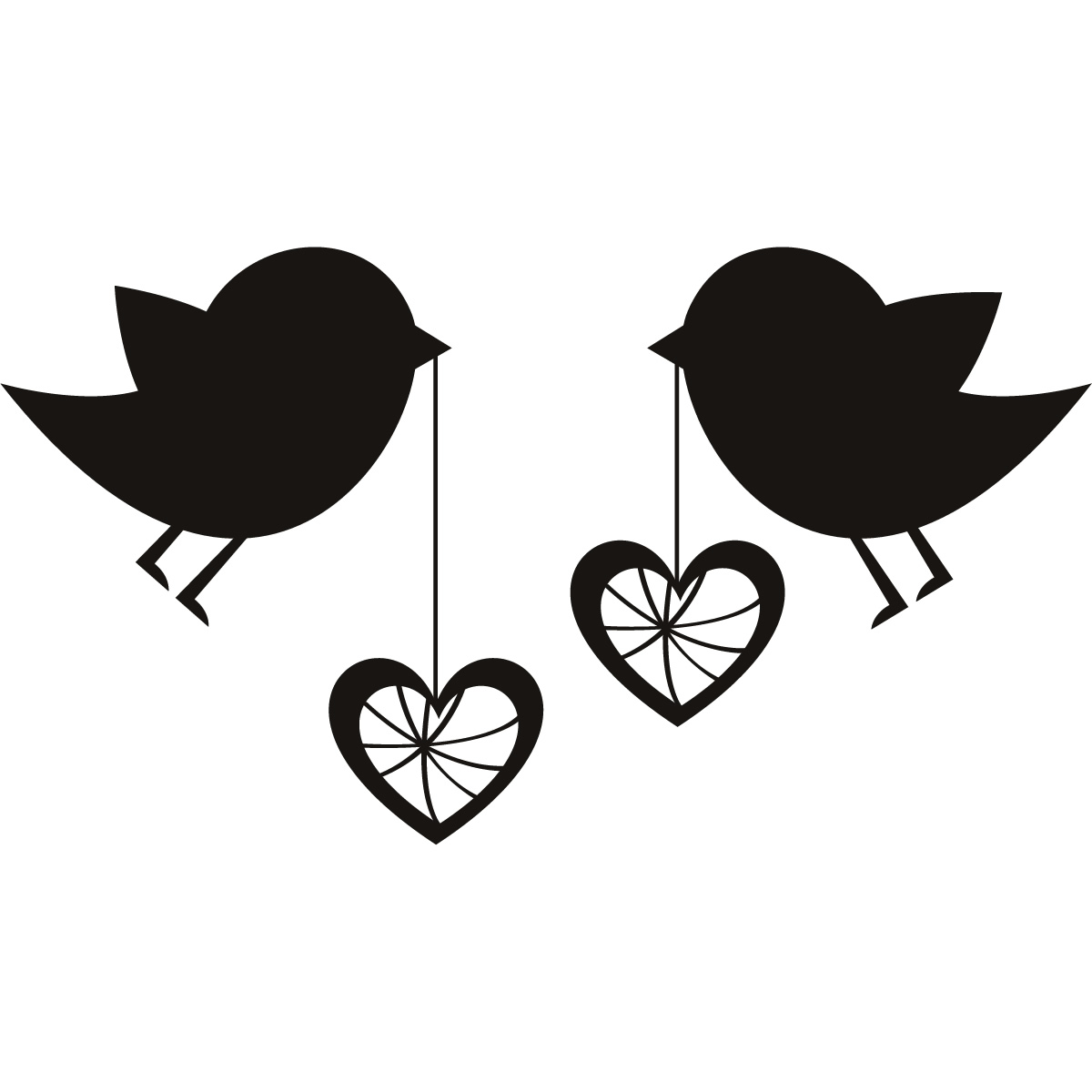 Birds With Love Hearts Wall Art Sticker Wall Decal Transfers Ebay