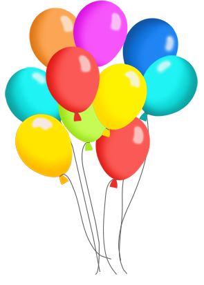 birthday balloons and cake clip art