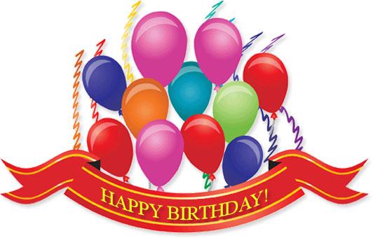 birthday balloons, ribbins and streamers
