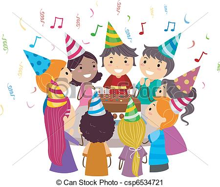 ... Birthday Party - Illustration Of Kid-... Birthday Party - Illustration of Kids Gathered Around a.-18