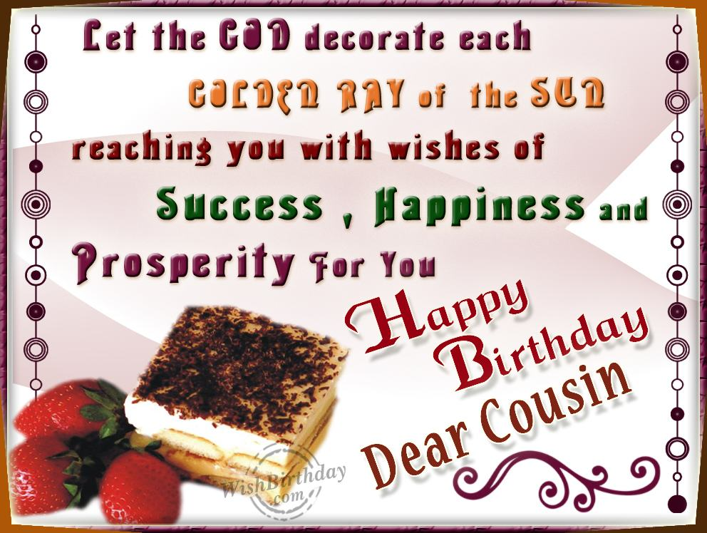 Birthday Wishes For Cousin Bi - Happy Birthday Cousin Clipart