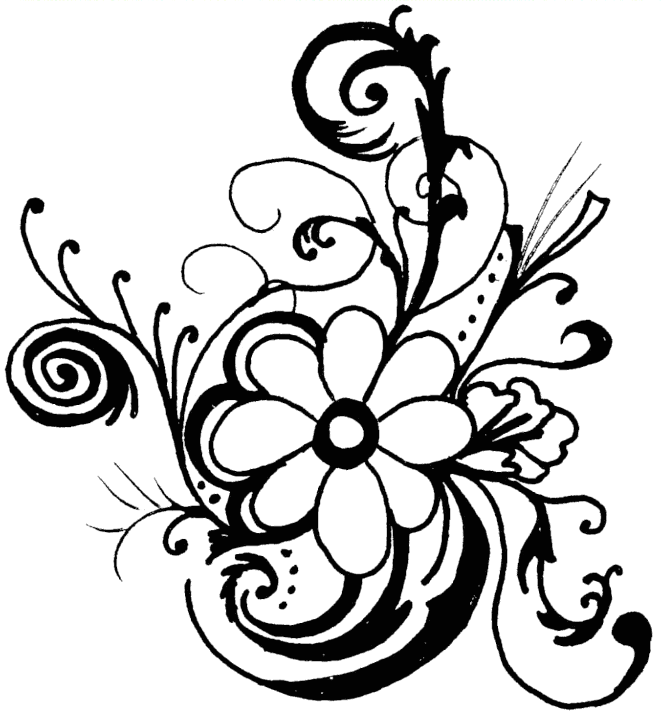 black and white flower border - Flower Clip Art Black And White