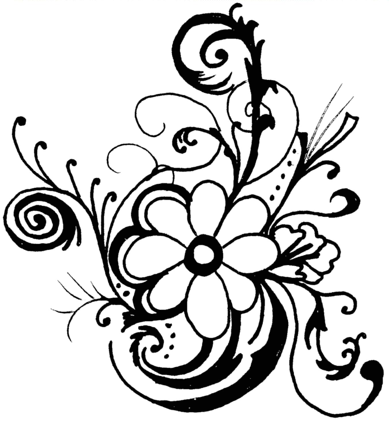 black and white flower border clipart-black and white flower border clipart-5