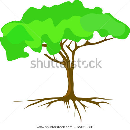 black and white tree with roots clipart