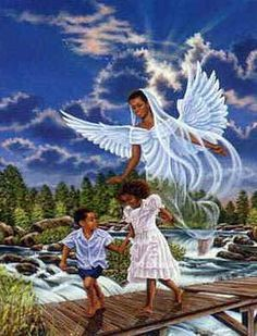 Black African Art | African American Rel-Black African Art | African American religious clipart of black angel  watching over black .-13