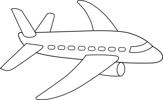 Airplane white. Clipart black and look