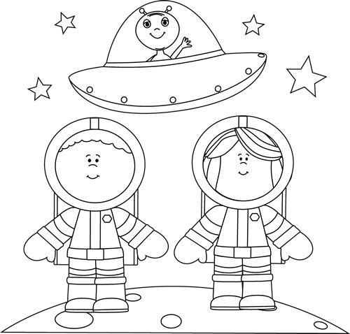 Black and White Astronauts on Moon with UFO Clip Art - Black and White Astronauts on Moon with UFO Image