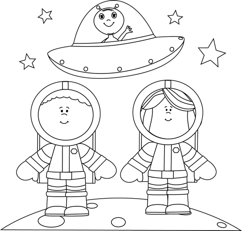 Black and White Astronauts on Moon with -Black and White Astronauts on Moon with UFO-15