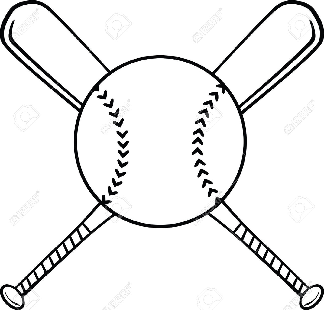 Black and white baseball clipart