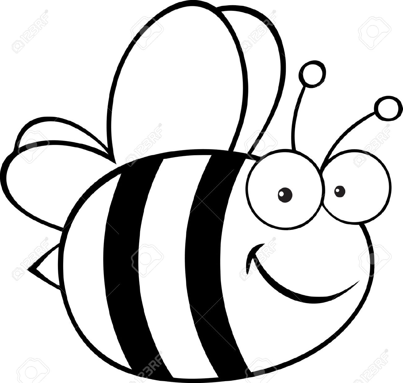 Black And White Bee Clipart. Outlined Cute Cartoon Bee .