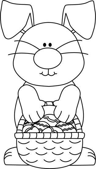 Black and White Bunny with an Easter Basket Clip Art - Black and White Bunny with an Easter Basket Image | Pasqua | Pinterest | Coloring, Clip art and White ...