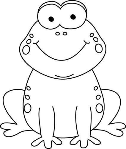 Black and White Cartoon Frog .