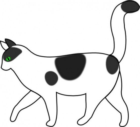 black and white cat clip art side view - Oki Pix