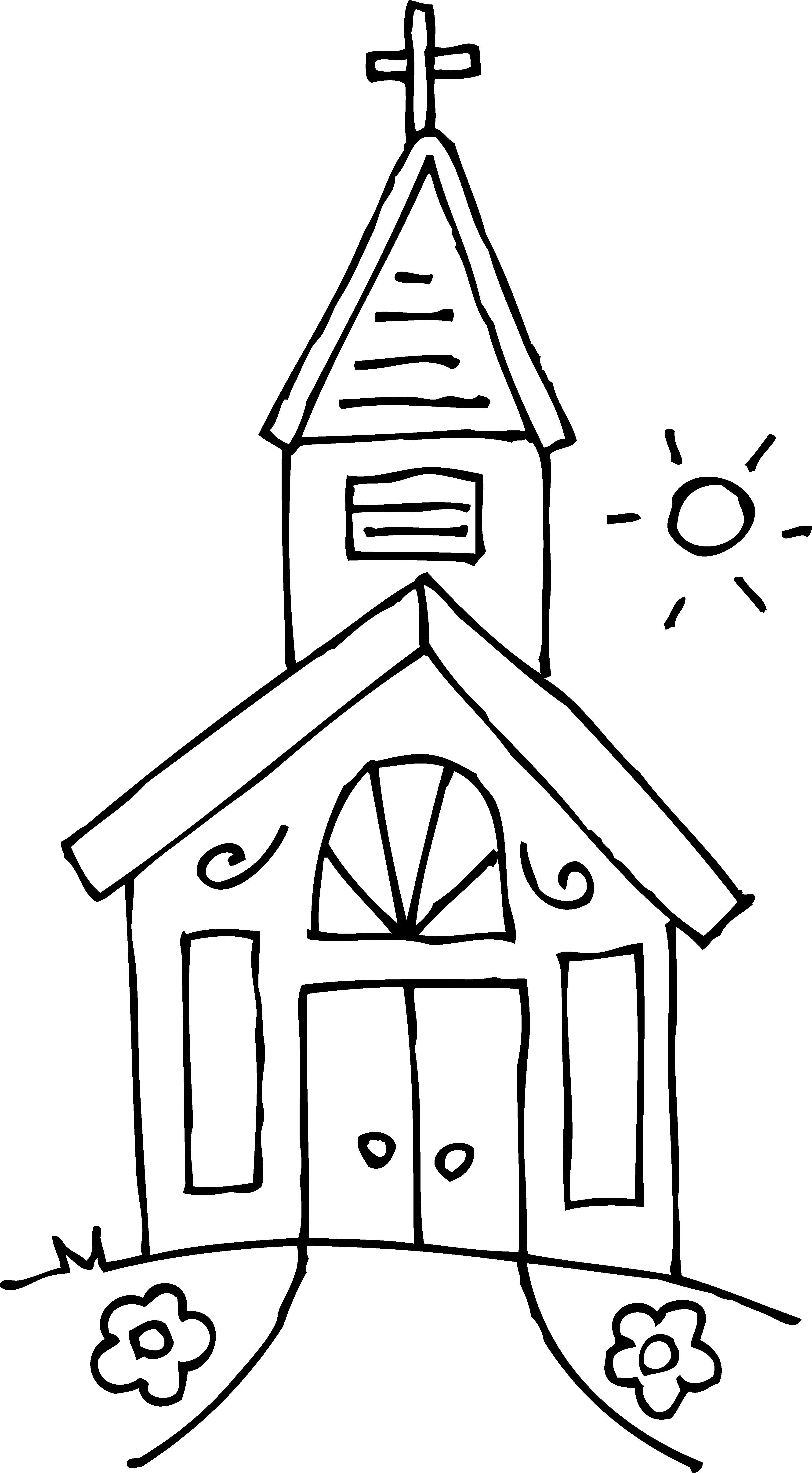Black and White Church Clip .