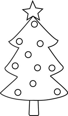 Black and White Clipart. Black and White Christmas Tree .
