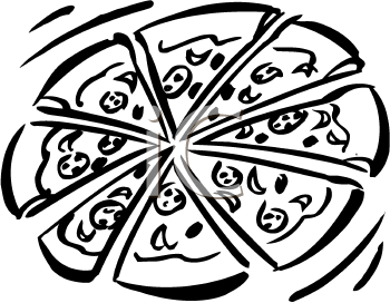 Black And White Clipart Picture Of A Pep-Black And White Clipart Picture Of A Pepperoni Pizza Foodclipart Com-9