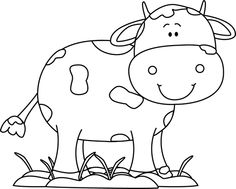 Black and White Cow in the Mud with Flies clip art image for teachers, classroom lessons, educators, school, print, scrapbooking and more.