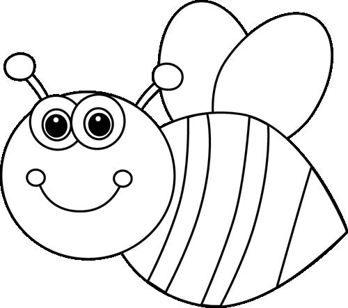 Black and White Cute Cartoon Bee