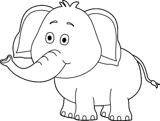 Black And White Cute Elephant-Black and White Cute Elephant-1