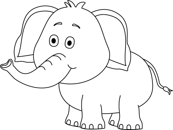 Black and White Cute Elephant