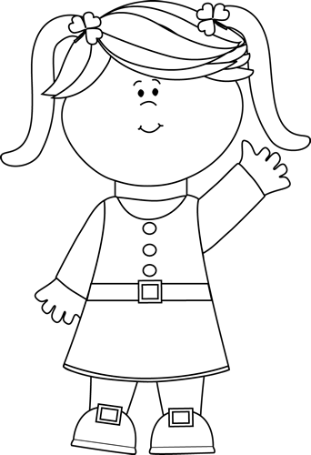 Black And White Cute Saint Patrick S Day-Black And White Cute Saint Patrick S Day Girl Clip Art Image Little-1