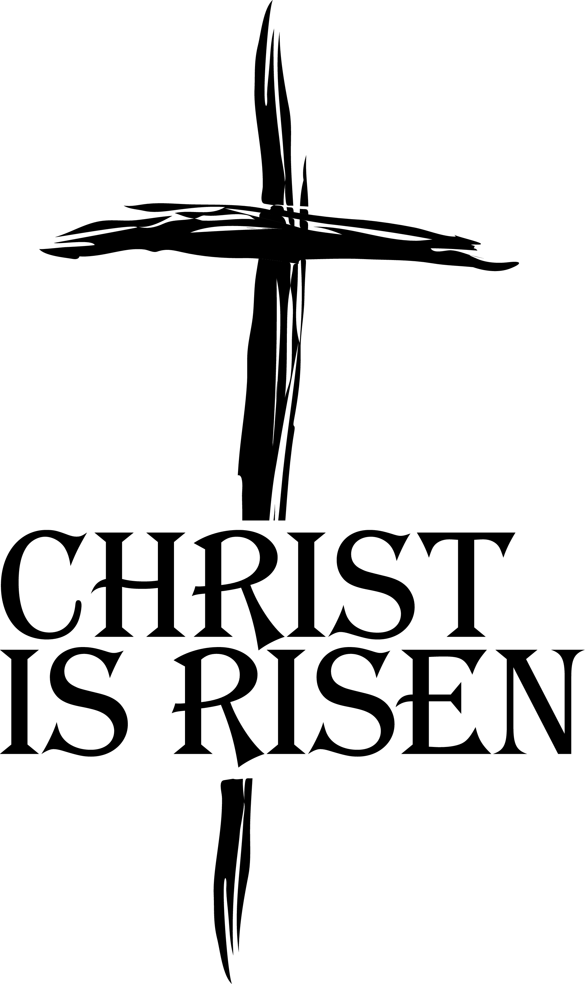 Black and white easter religious clipart