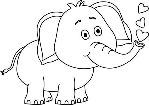Black and White Elephant . - White Elephant Clip Art