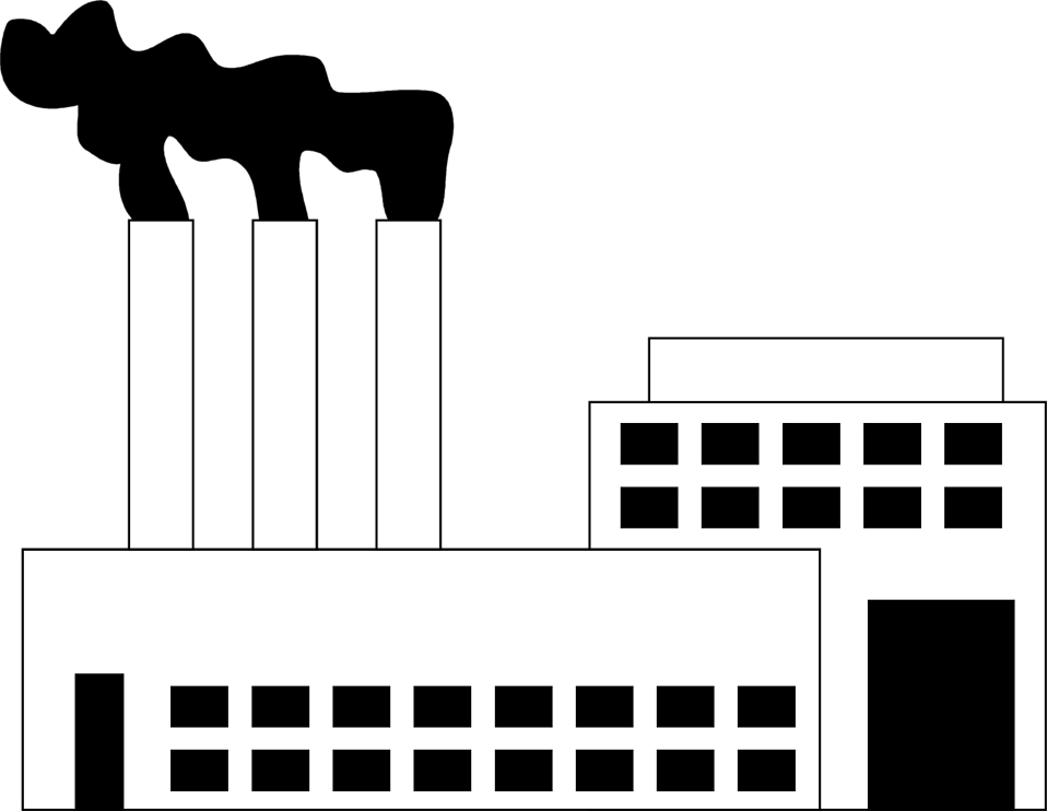 Black and White Factories Clipart