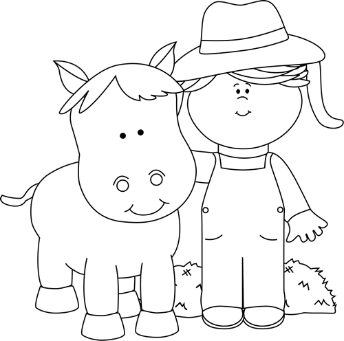 Black and White Farm Girl with a Horse-Black and White Farm Girl with a Horse-19