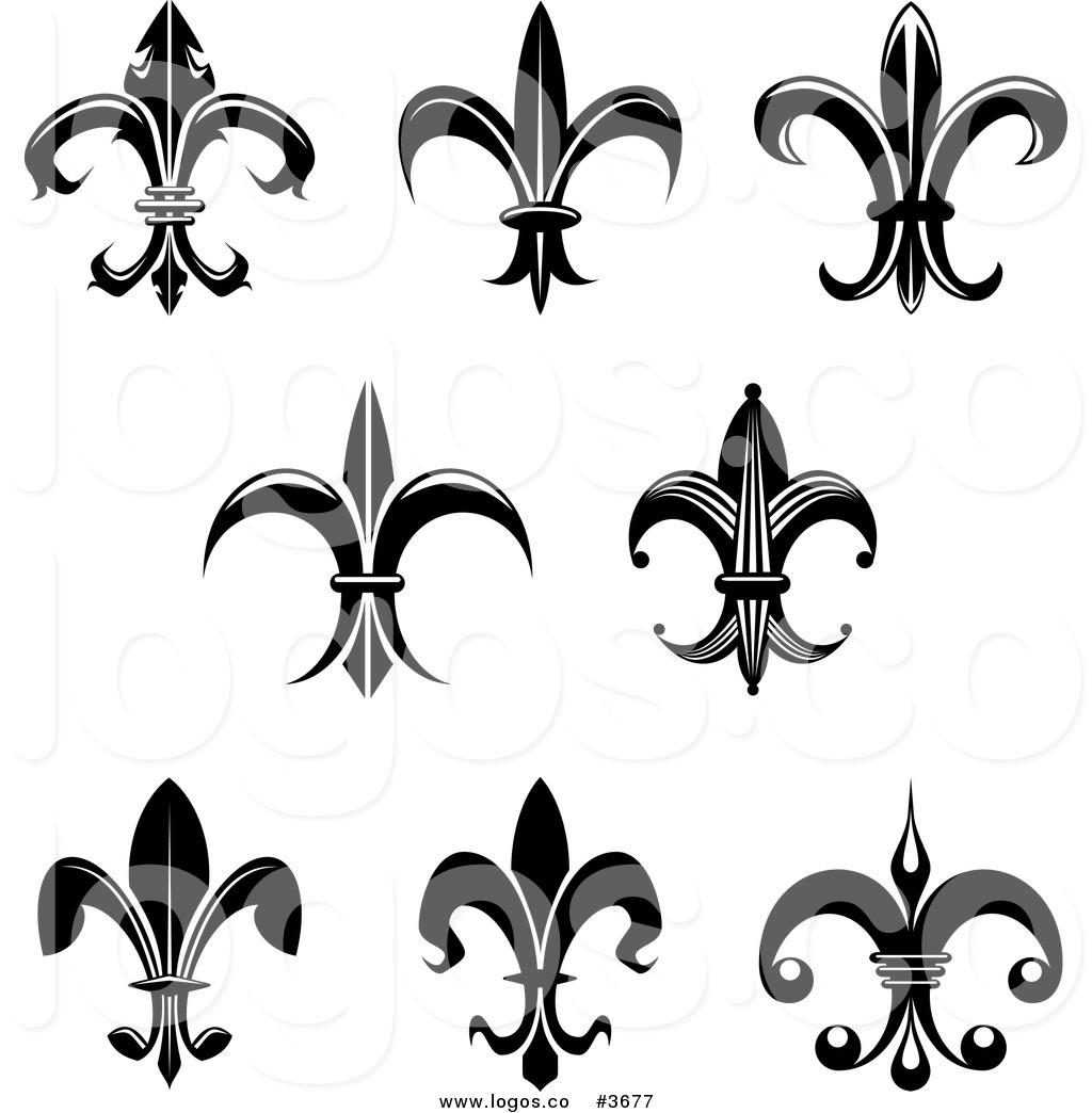 Black and White Fleur De Lis .-Black and White Fleur De Lis .-12