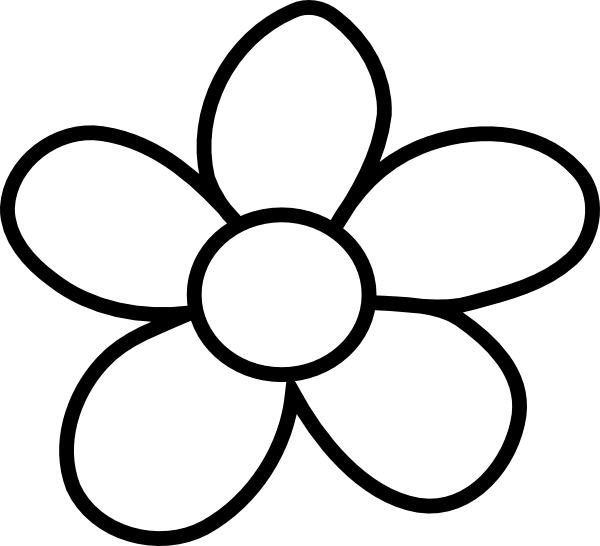 Black And White Flower Clip . - Flower Clipart Black And White