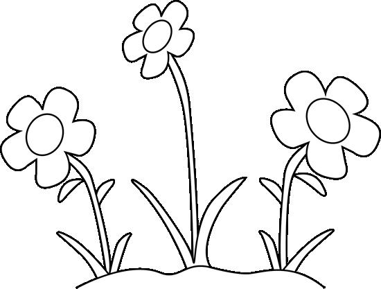 Black And White Flower Garden - Black And White Flower Clipart