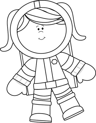 Black and White Girl Astronau - Space Clipart Black And White