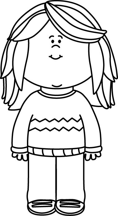Black And White Girl Wearing A Sweater C-Black and White Girl Wearing a Sweater Clip Art - Black and White Girl Wearing a-3