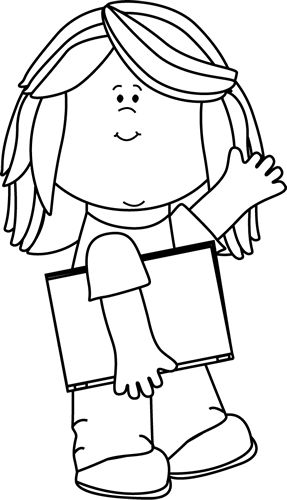 Black And White Girl With Book Waving Cl-Black and White Girl with Book Waving Clip Art - Black and White Girl with Book Waving Image-4