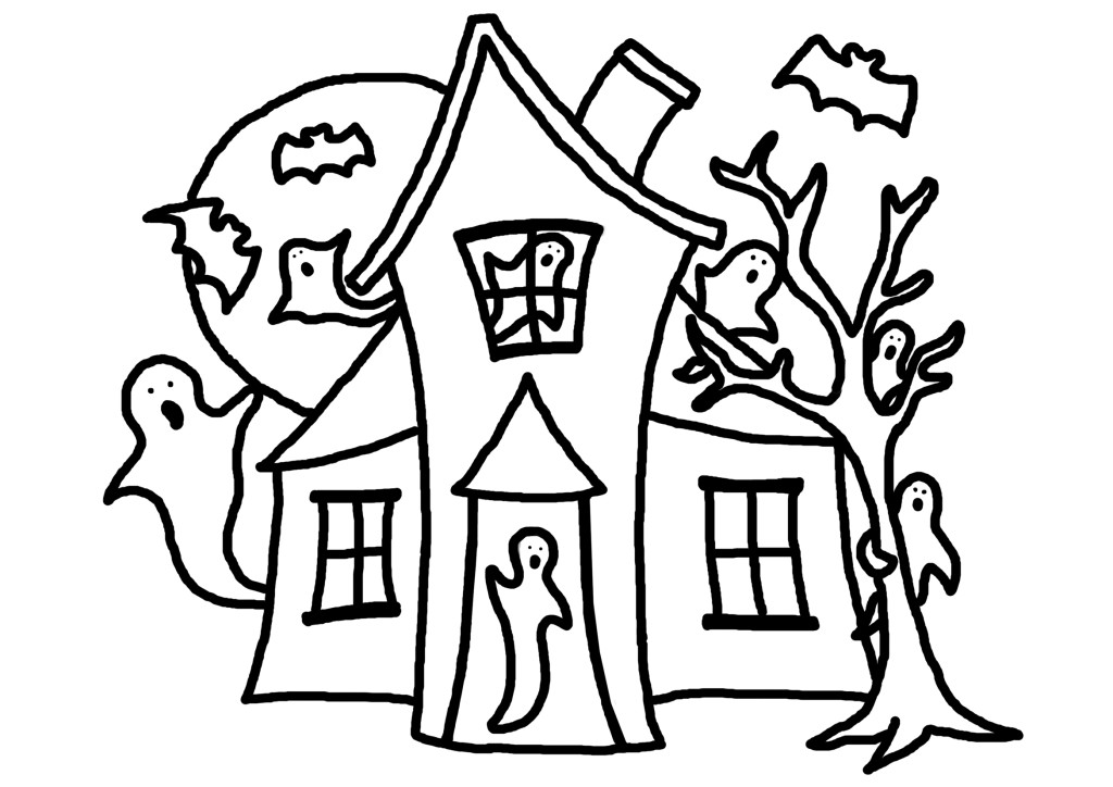 Black And White Halloween . Haunted House Coloring Page