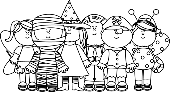 Black And White Halloween Kids Clip Art Black And White