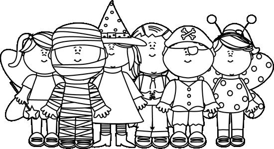 Black And White Halloween Kids Clip Art Black And White