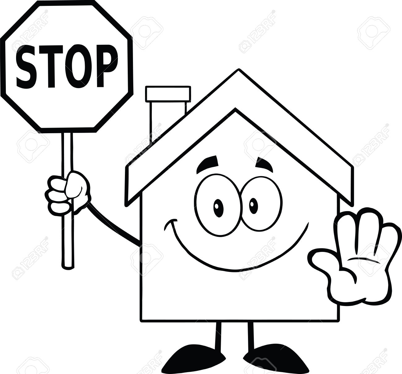 Black And White House Cartoon Character Holding A Stop Sign. Print Save this clip art