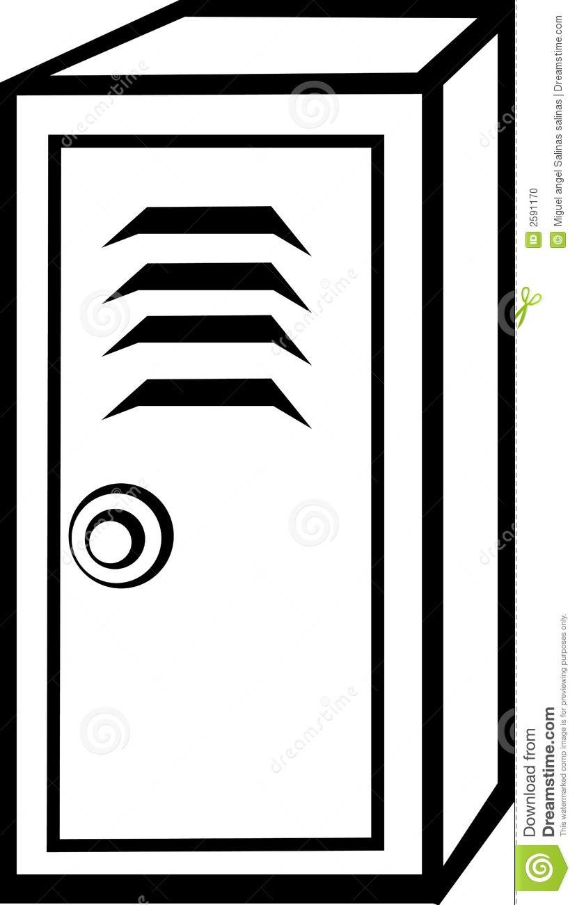 Black And White Illustration Of A Locker-Black And White Illustration Of A Locker-1